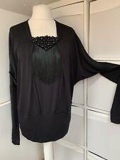Byblos Back Tassle & Beaded 70s Style Dolman Sleeve Top - Size L