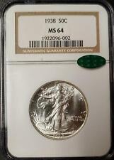 1938 WALKING LIBERTY HALF DOLLAR - MS 64 - NGC - CAC CERTIFIED - #002