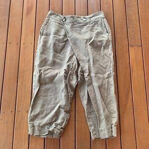 Matta Size XL Linen Cotton 3/4 Pants Green Wrap Front Casual