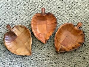 3 Vintage Wooden Carved Leaf Party Serving Dishes Snacks Nuts 1970s