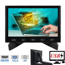 """7"""" LCD PC CCTV Monitor 5V/2A USB Powered HD 1024*600 Screen AV/RCA/VGA/HDMI/BNC"""