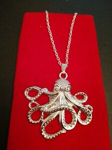 Large Octopus Pendant On A Silver Plated Longline Chain