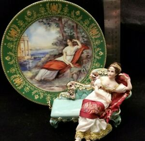 """1:12 scale Dollhouse Doll Artist created! """"JOSEPHINE"""" W/Collector Plate & Chaise"""