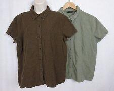 2 Eddie Bauer Linen Blend Cap Sleeve Blouses ~Chocolate Brown & Sage Green~ XL