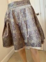 Ted Baker Skirt Ladies Womens Size 2 10 12 Green Brown Pattern Print Lined