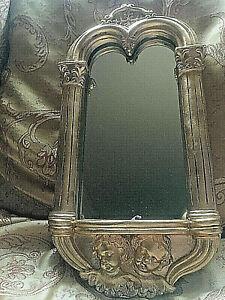 Art Nouveau Nostalgic Deco Baroque Mirror 24carat gold plated angels shelf