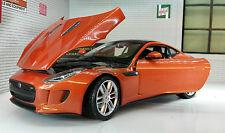 Model Jaguar F Type Coupe In Metallic Orange Copper, Scale 1:24, Die Cast Metal