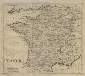 Fine Antique Walker'sl Map - FRANCE - Copper Engraving - 1800