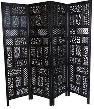 4 Panel Carved Indian Screen Wooden Screen Divider Circle Jali 177x183cm