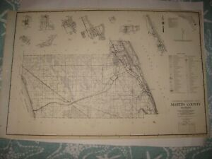 HUGE ANTIQUE 1955 MARTIN COUNTY STUART INDIANTOWN FLORIDA HIGHWAY ROAD MAP RARE