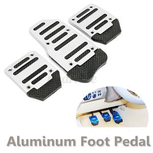 3pcs Silver Aluminium Alloy Manual Throttle Brake Clutch Pedal Foot Treadl /