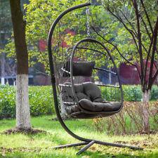 Swing Hanging Egg Wicker Chair Hammock W/ Stand Foldable Outdoor Garden Patio