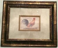 """VINTAGE """"THE GOLD  ROOSTER FOLK ART COUNTRY FARMHOUSE KITCHEN COLORFUL PICTURE"""