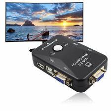 KVM Switch Box Monitor Control Two PC's 2 Port VGA USB Keyboard Printer Mouse