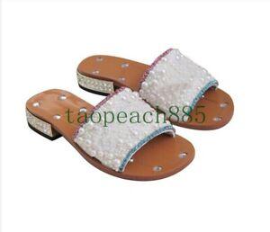Women's Slippers Pearls Bling Sandals Rhinestone Block Heel Shoes Black Summer