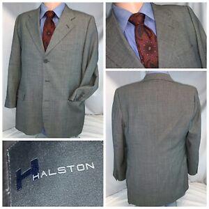 Halston Blazer Sport Coat 40S Gray Check Wool 3B Made Italy Mint YGI E0-146