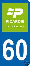 1 Sticker plaque immatriculation AUTO adhésif département 60 logo vert