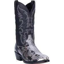 Laredo Mens Monty Snake Print Western Cowboy Boots Leather Snip Toe Black/White