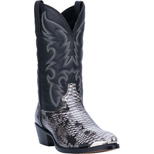 Laredo Mens Monty Snake Print Western Cowboy Boots Leather Snip Toe Black/White