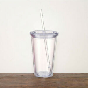 Tumbler Cup With Straw Reusable Double Walled 500ml Cold Drink Tea Mug UK