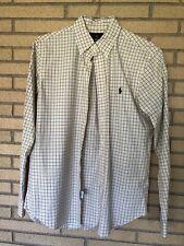 Ralph Lauren men's medium yellow/navy plaid button down long sleeve shirt