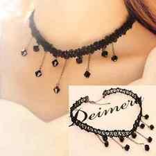 Fashion Black Lace Crystal Collar Choker Bib Beads Pendant Jewelry Necklace Gift