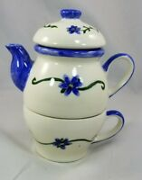 Tea for One Stacking Teapot & Cup Blue and Green Floral design on Ivory,  6.5""