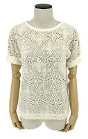 Authentic LOUIS VUITTON Monogram Lace Tops T-shirts White Ivory Size 34 Rank AB