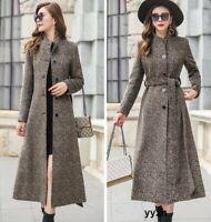 Elegant Women's Wool Blend Overcoat Trench Coats Belt Jacket Long Button Outwear