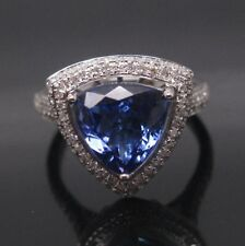 14KT White Gold 1.85Ct Natural Blue Tanzanite With EGL Certified Diamond Ring