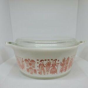 Vintage Pyrex 472 Rare Pink Amish Butterprint Casserole Bowl 1 1/2 Pt.