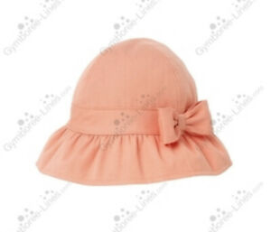 EUC Girl Janie & Jack Poppy Garden Peach Bucket Hat 0-6 Mo Lined