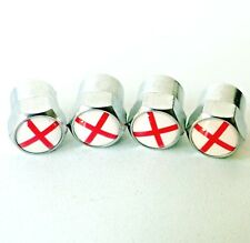 ENGLAND Flag Chrome x4 Metal Dust Caps George Cross For Vauxhall MINI Rover MG