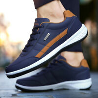 Casual Men's Leather Waterproof Breathable Tennis Shoes Outdoor Running Sneakers