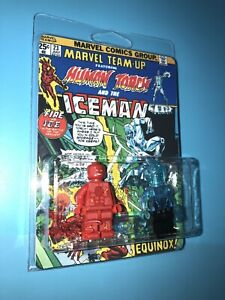 Human Torch Vs Iceman X-Men Custom Packaged Mini-Figure Comic Book Hero Fire Ice