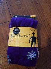 SmartWool Purple Merino Wool Floral Pattern Tights Girls Size MEDIUM
