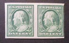 1908 US S#343 1c Franklin, green Pair DLWM Imperf  MNH OG