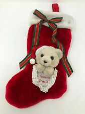 "Vintage 1989 Plush Creations Christmas Seasons Greeting Bear Stocking 16"" Long"