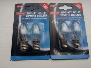 2 PACKS = 4 EVEREADY SPARE NIGHT LIGHT BULBS 7W SES - E14-E12 LAMP 240V SCREW