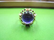 Gorgeous Vintage Ring w/ Large Cabochon Amethyst 14k Yellow Gold size 7.5 Women