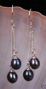 1Pairs Natural 6-7mm Black Akoya Freshwater Pearl Silver Hook Dangle Earrings