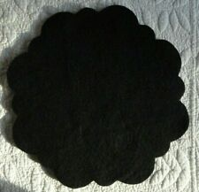 "pRiMiTiVe Wool Felt~13"" Penny Rug Multi Scalloped Circle~Black~2 Pieces~"