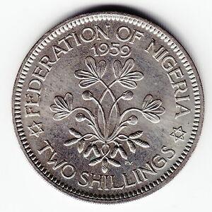 NIGERIA 2 shillings 1959 KM6 Cu-Ni 1-yr type QEII Security edge TOP GRADE - RARE