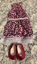 Pink Animal Print Rhinestones DressW/Matching Sparkly Shoes 18�American Girl