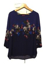 Joules Top 14 Blue Floral Stretch Flattering Blouse