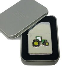 John Deere Green Tractor Lighter Gift Boxed Enamel Emblem NO FUEL INC Smoking