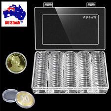 100x 33mm Transparent Plastic Round Case Coin Storage Capsules Holder Round Box