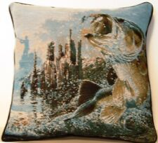 Fish-  Bass Leaping Out Of Water, Stump, Fisherman Al Agnew Tapestry Pillow New
