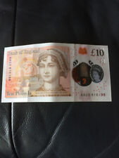 Low Serial No New Polymer £10 Ten Pound Note Released On 14th September 2017