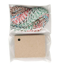"50 BLANK KRAFT HANG TAGS 1-1/2""x2-1/8""+BAKER TWINE STRINGS~CRAFTS~FREE SHIPPING"